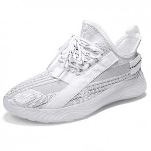 Elevated Slip On Fashion Sneakers White Low Top Flyknit Men Loafers Increase Height 2.4 inch / 6 cm