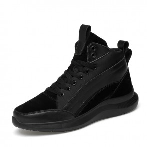Hidden Lift Plimsolls Shoes Height 3.2 inch / 8cm Black High Top Fashion Sneakers