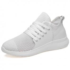Lightweight Taller Mesh Racer Shoes Increase Height 2.8 inch / 7 cm White Slip On Walking Sneakers