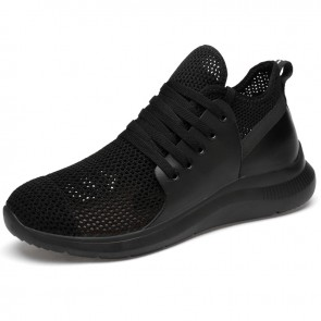 Lightweight Elevator Mesh Racer Shoes Add Taller 3 inch / 7.5 cm Black Hollow Out Walking Shoes