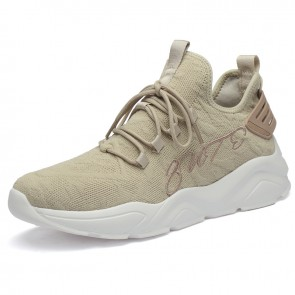 Height Increasing Racer Shoes Add Taller 2.4 inch / 6cm Tan Flyknit Lightweight Running Walking Trainers