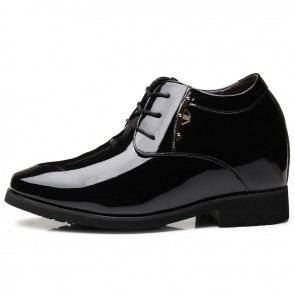 4 inch Taller Tuxedo Shoes for Men Increase Height 10cm Plain Toe Elevator Wedding Dress Shoes