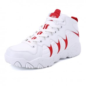 White-Red Elevator Basketball ShoesGet Taller