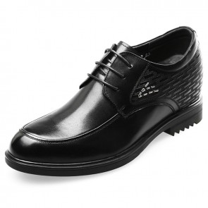 Premium height elevator wedding shoes black formal derbies 3.2inch / 8cm