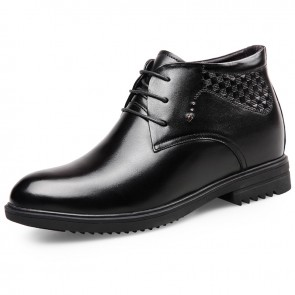 Glossy Height Increasing Warm Dress Shoes High Top Formal Shoes Tall 3inch / 2.75cm