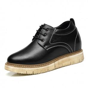 Retro 4 inch Taller Men Business Casual Shoes Black Hidden Lift Work Shoes Increase10cm