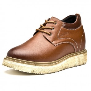 Brown 4 inch Elevator Business Casual Shoes Wide Increase Height Shoes Add Taller 10cm