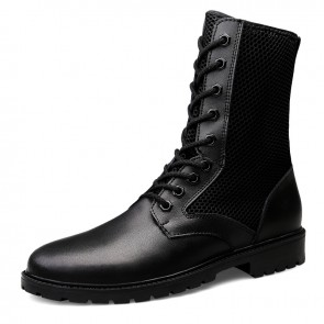 Hollow Out Mesh Western Boots for Men Add Taller 2.4 inch / 6 cm Height Increasing Combat Military Boot