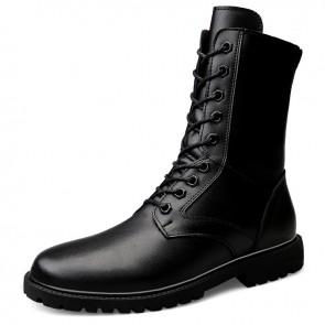 Side Zipper Western Tactical Boots for Men Increase Taller 2.4 inch / 6 cm Hidden Heel Lift Combat Military Boot