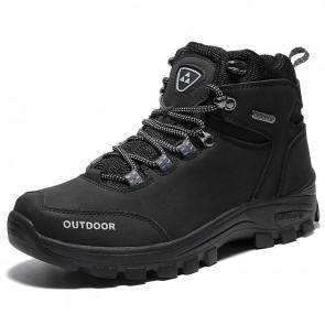Elevator Men Hiking Boots Add Height inch / 7.cm Black Waterproof Outdoor Shoes