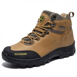 Hidden Lift Hiking Boots for Men Add Height 3 inch / 7.5 cm Brown Waterproof Elevator Outdoor Shoes