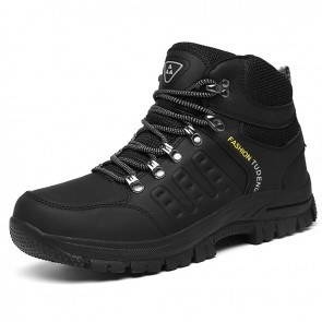 High Top Elevator Men Hiking Shoes Add Height 3 inch / 7.5 cm Black Hidden Lift Outdoor Shoes