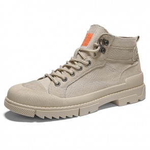 Modern Street Style Taller Canvas Sneakers Add Height 2.8inch / 7cm Khaki Dunk High Non-Slip Walking Shoes