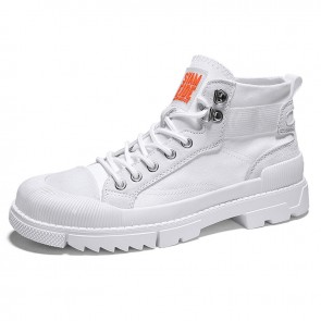 Modern Street Style Hidden Lift Canvas Sneakers Increase 2.8inch / 7cm White Dunk High Non-Slip Walking Shoes