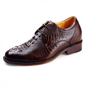 Crocodile grain elevator bridegroom wedding shoe 6.5cm / 2.56inch brown height lift formal dress shoes