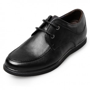 Concise Casual Lift Shoes for Men 2.4inch / 6cm Black Calfskin Elevator Shoes