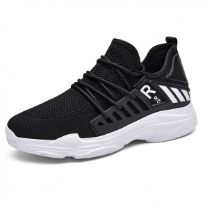 Black Mesh Hidden Height Fashion Sneakers Make You Look Taller 3 inch / 7.5 cm