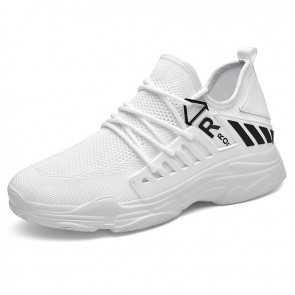 White Mesh Hidden Taller Fashion Sneakers Increase Your Height 3 inch / 7.5 cm