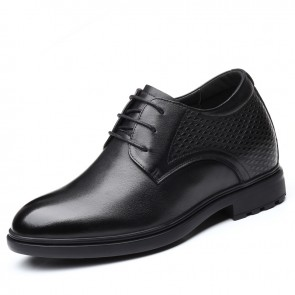 black Hidden Heel Tuxedo Shoes for Men Taller 3.2inch / 8cm Genuine Leather Elevated Formal Shoes