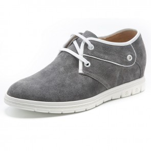 Gray suede elevator shoes 6cm / 2.4inch lace-up height increasing shoe