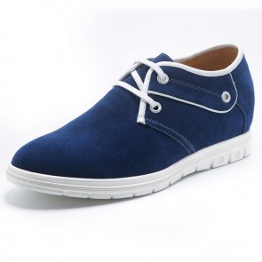 Blue suede elevator shoes 6cm / 2.4inch lace-up height gain shoes