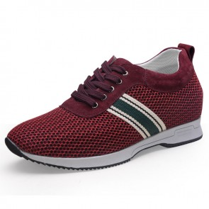 Ventilated mesh taller sneakers heel height 6cm / 2.36inch red running shoes