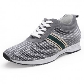 Ventilated mesh height sneakers add taller 6cm / 2.36inch grey running shoes