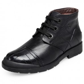 Elevator warm shoes for men height 2.6inch / 6.5cm black high top wool boot