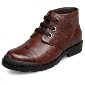 Height increasing warm shoes for men taller 2.6inch / 6.5cm brown high top wool boot