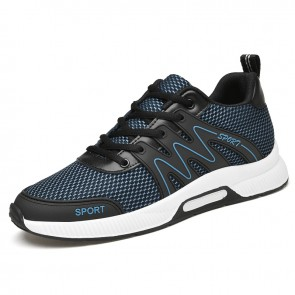 Summer Elevated Shoes for Men Increase Height 3 inch / 7.5 cm Breathable Blue Mesh Sneakers