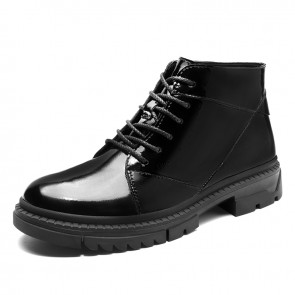 Patent Leather Elevator Combat Boots for Men Increase Height 2.4 inch / 6 cm Taller Men Motorcycle Boot