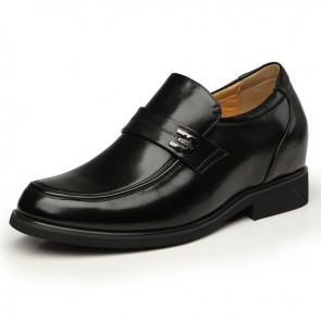 Black business elevator dress shoes that increase height 3.15inches / 8cm men taller shoes
