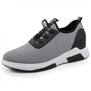 Men Taller Fashion Sneakers Give Your Height 3.2inch / 8cm Gray Slip On Walking Shoes