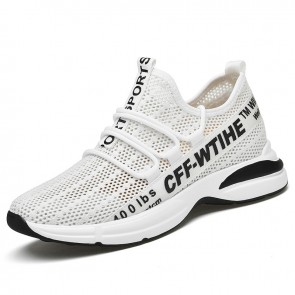 Comfy Height Increasing Hollow Out Sneakers for Men Add 2.8 inch / 7 cm White Mesh Slip On Walking Shoes