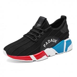 Elevator Tongueless Sneakers for Men Increase Taller 3 inch / 7.5 cm Black Slip On Flyknit Walking Shoes