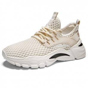 Hollow Out Hidden Lift Mesh Trainers Beige Slip On Running Walking Shoes Gain Taller 2.2 inch / 5.5 cm