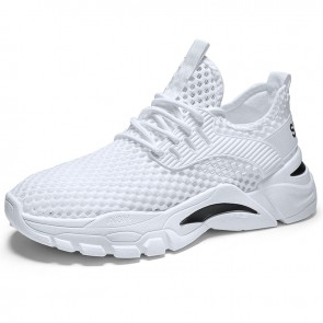 Hollow Out Elevator Mesh Trainers White Slip On Running Walking Shoes Increase 2.2 inch / 5.5 cm