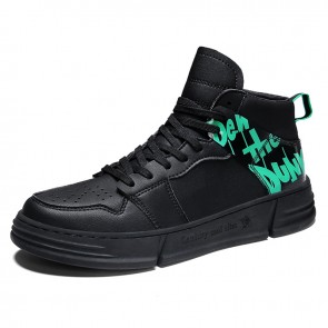 Elevator Street Skateboarding Shoes for Men Add Height 2.8inch / 7cm Black High Top Fashion Sneakers