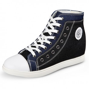 High top elevator casual board shoes blue taller canvas sneaker 2.6inch / 6.5cm