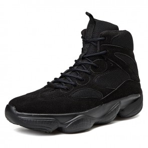 Elevator Ankle Sneakers That Add Taller 3.2inch / 8cm Black High Top Warlking Shoes