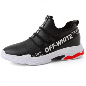 2019 Elevator Racing Shoes for Men Get Taller 2.8inch / 7cm Black Leather Slip On Sneakers