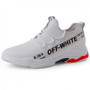2019 Men Elevator Racing Shoes Increase Height 3inch / 7.5cm White Leather Slip On Sneakers