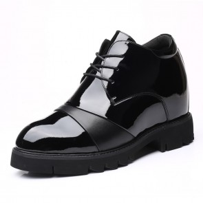 Black Extra Taller Men Oxfords Increase 4.7inch / 12cm Height Boosting Cap Toe Dress Shoes