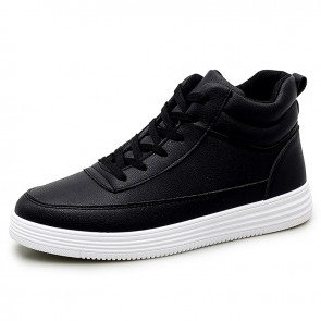 Fashion High Top Elevator Skate Shoes Black Leather Men Sneakers Add Taller 2.8inch / 7cm