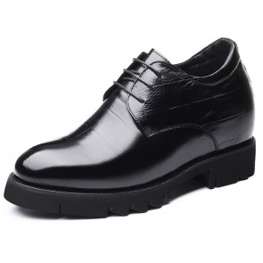 Black Height Enhancing Business Formal Shoes for Men Increase Taller 4inch / 10cm Calfskin Elevator Derbies