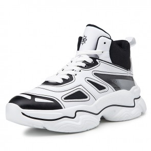 Elevator Celebrity Sports Shoes Add Taller 3.2inch / 8cm Black Hidden Lift Basketball Shoes
