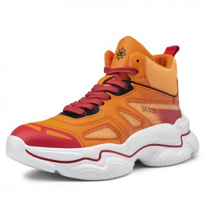 Elevator Celebrity Sports Shoes Increase 3.2inch / 8cm Orange Hidden Taller Basketball Shoes