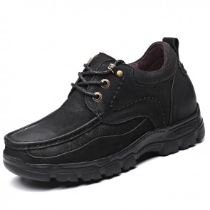 Taller Outdoor Working Shoes Increase 3.2inch / 8cm Black Breathable Nubuck Leather Casual Shoes