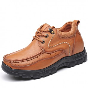 Taller Men Outdoor Working Shoes Add Height 3.2inch / 8cm Brown Breathable Nubuck Leather Casual Shoes