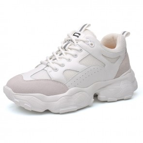 Height Increasing Clunky Sneakers Get Taller 3.2inch / 8cm White Trendy Elevator Dad Shoes